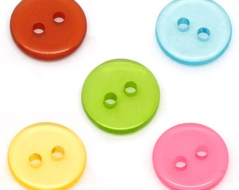 300 Wholesale - Mixed Colours 2 Holes Transparent Acrylic Sewing Buttons Scrapbooking 11mm - Pack of 300