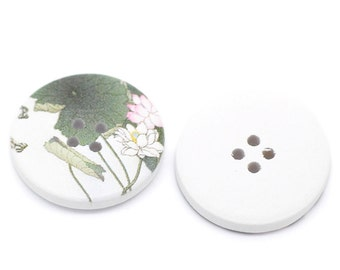 5 White Wood Painted Button Floral (Design No.12) Four Hole 30mm Pack of 5 WPB31