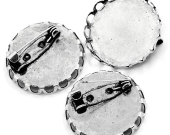 Antique Silver Round Cameo Cabachon Frame Brooch Setting for Arts Crafts Jewelry Necklaces Earrings Embellishments Pack of 10 27 x 27mm