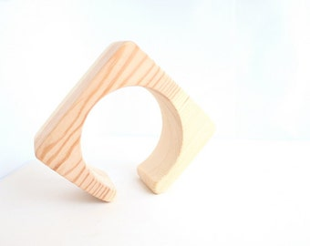 40 mm Wooden cuff  unfinished square with break - natural eco friendly ma40c