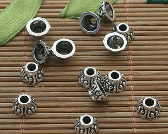 200pcs dark silver tone cute bead cap h3466