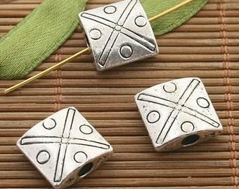18pcs dark silver tone space bead h3486