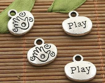 30pcs dark silver tone Play palm design charm h3488