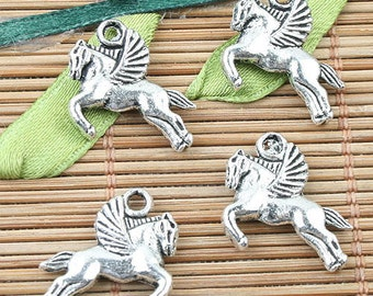 24pcs Tibetan Silver2sided flying horse design charms EF0034