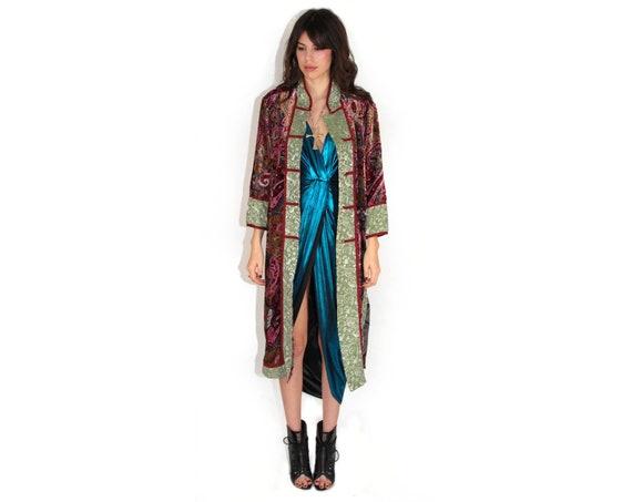 Psychedelic Silk Velvet Burnout Robe