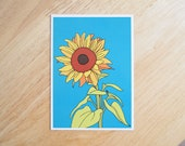 POSTCARD - 6x4.25 inches. Sunflowers