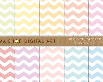 Digital Paper 'Chevron II Pastels' Green, Yellow, Orange, Pink, Red, Purple, Pink, Turquoise, Blue... Zigzag Pattern Scrapbooking Paper