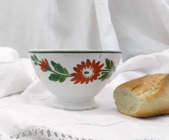 Small Vintage Ceramic French Farmhouse Ceramic Café au Lait Bowl  Coffee Bowl with Hand Painted Flower Pattern, Country Cottage Decor France