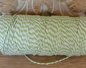 Twine -  Baker's Twine - Apple Green and White - Full 100 Yard Spool