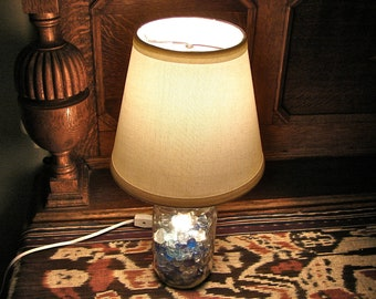 Mason Jar Table Lamp - Two Bulbs - Works As Nightlight or Lamp