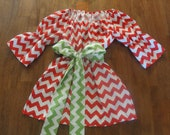 Red and White Christmas Chevron Peasant Top with Bell Sleeves and Green and White Chevron Sash - JustSewStinkinCute