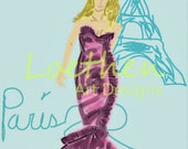 Paris Fashion Stamp Collection Illustration Art Girls Room Decor 4X6