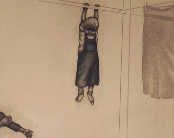 momento no. 5192 (hang) - original intaglio print by Carrie Lingscheit