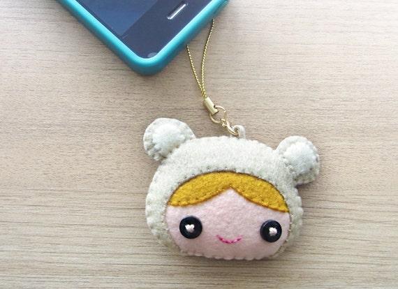 Cell phone charm -  felt charm -  cute charm -  Kawaii cell phone charm - READY TO SHIP