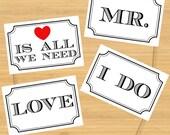 Wedding Photo Booth Props - Classic Signs - Printable, Digital, DIY, Photobooth