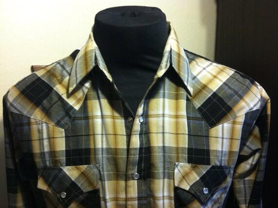Plains Western Wear Large Tan/Black Mens Shirt