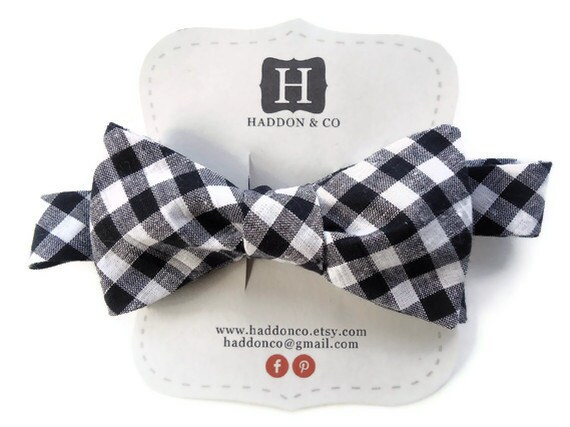 Bow Tie - Black and White Gingham - Men's Self Tie - Freestyle Tie