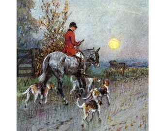 Horse Fabric Block - Fox Hunting Under a Full Moon Riding To Hounds