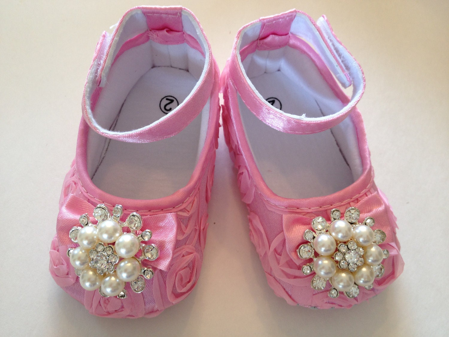 Baby Girl pink Satin Rosette Crib Shoes Baby by