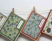Thank you Notecard Set - set of 6 cards, bird, mushroom, tree, flower