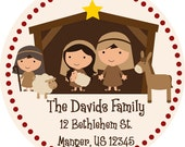 Christmas Address Labels - Country Red Nativity, Mary, Joseph and Shepherd Personalized Address Label Stickers - 20 Holiday Address Stickers
