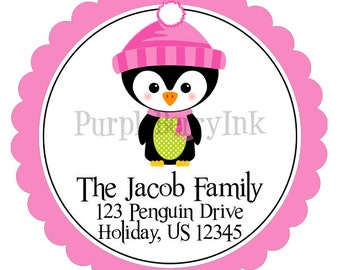 Penguin Address Labels - Pink and Green Girl Winter Christmas Penguin Personalized Address Label Stickers - 20 Holiday Address Stickers