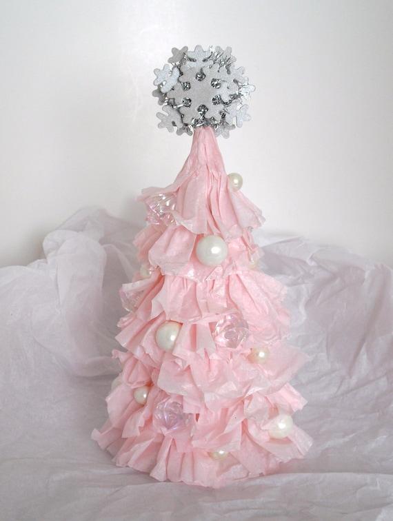 Small Shabby Chic Ruffled Light Pink Christmas Tree