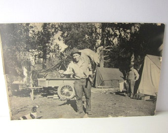 Black and White Hunting Party Photo, Man with Buck, Hunting Camp