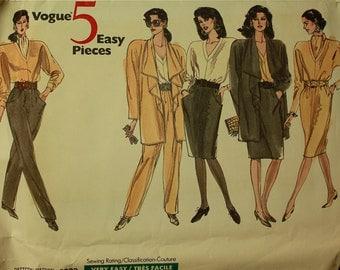 "Dress, Top, Scarf, Jacket, Pants & Skirt  -1980's - Vogue 5 Easy Pieces Pattern 2383   Uncut   Size 8-10-12  Bust 31.5 - 32.5 - 34"""