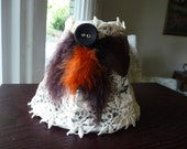 Handmade lampshade-feathers and vintage button on vintage shade,clip on,