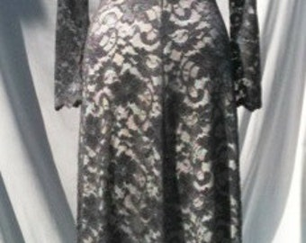 Baylis & Knight Grey Ivory LACE Princess Kate Middleton Long Sleeve MAXI Flared Skirt Low Cut Ball Gown Dress