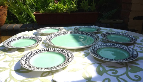Art Deco Cake Plate Set 1 Large 6 Small Side Plates Genuine Royal Worcester England Mint Green Black White Vintage Gift