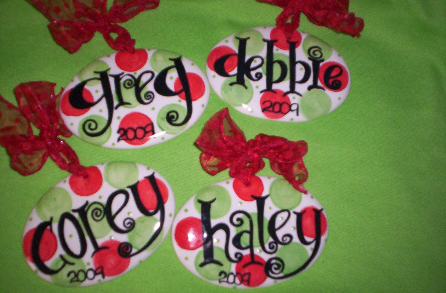 Personalized christmas ornament polka dot fun for Personalized christmas photo ornaments