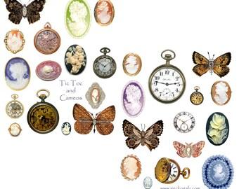 Tic Tock Cameos Digital Collage Sheet