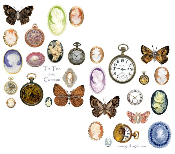Tic Tock Cameos Digital Collage Sheet