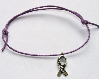 silver hope charm on waxed cotton cord adjustable friendship bracelet