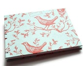 Wedding Guestbook Birds in Red on Light Blue - Handbound Journal or Notebook - Coptic Stitch Opens Flat Sketchbook