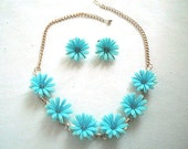 Blue Plastic Rhinestone Flower Necklace and Earrings Set Demi Parure
