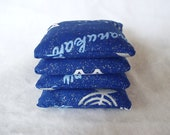 Set of 4 Mini Bean Bags/Handwarmers, Handmade, Rice Filled Hannukah Blue and Silver Fabric
