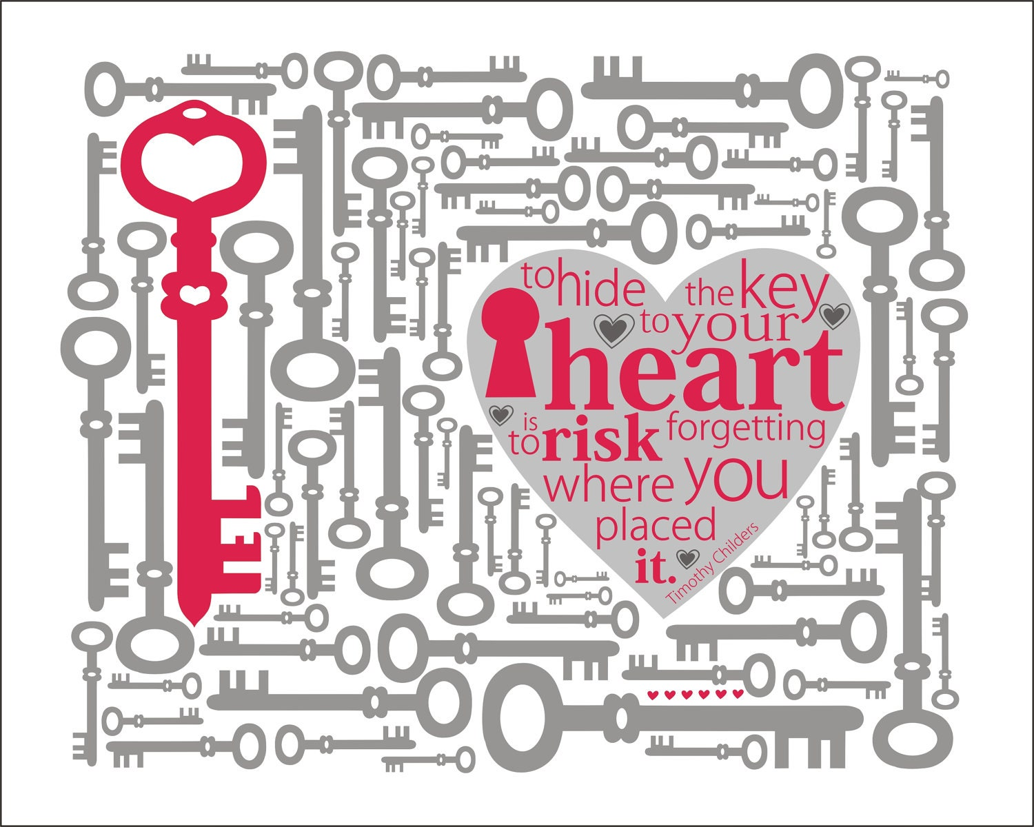 Items Similar To Typography Print, Key To Your Heart Quote