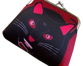 Vampire Black Cat Kitty Coin Purse - Change Purse