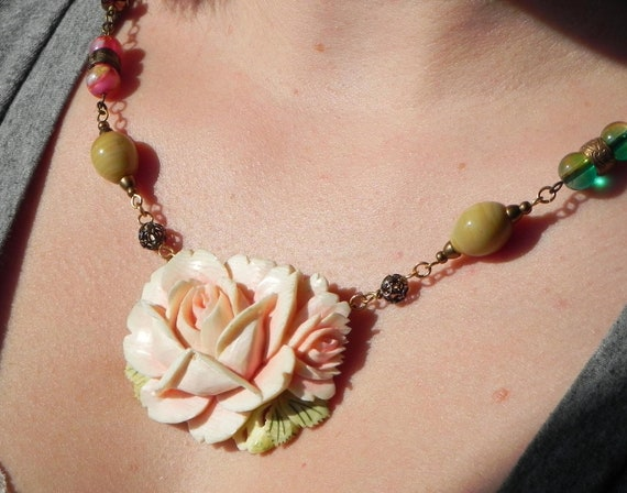 Blushing Rose Antique Ivory Pin Assemblage Necklace OOAK