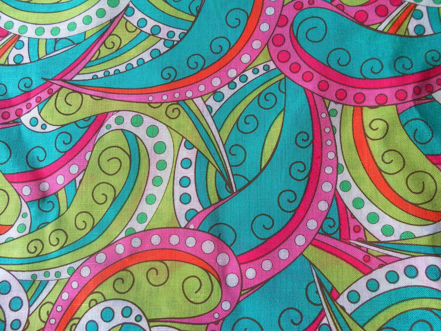 fabric bright paisley swirls dots lime pink teal last