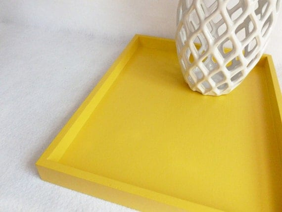 Sunny yellow 14 x 18 shallow decorative tray by for Shallow coffee table