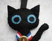 Black Cat Gold Medal Bag Charm