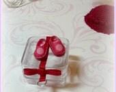 Red Poppy Shoes for Amelia Thimble-Izzy-Tiny BJD-Cloth-Hand Made Shoe