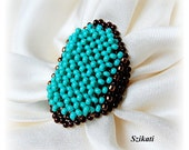 Beaded turquoise & brown seed bead Right Angle Weave ring, OOAK jewelry, beaded jewelry, seed bead jewelry