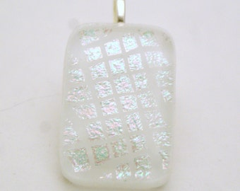 Dichroic Fused Glass Pendant - White Iridescent Squares