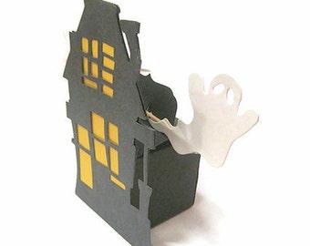 3 DIY Halloween Favor Box Kits, Rickety Haunted House & Ghost Party Favor Box, 7pc. DIY Halloween Kit, Halloween Party Decoration