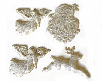 Reindeer Jumping Angels Santa Vintage Gold Ornaments, Tin Ornaments, Gold Santa and Angel Ornaments, Gold Reindeer Ornament